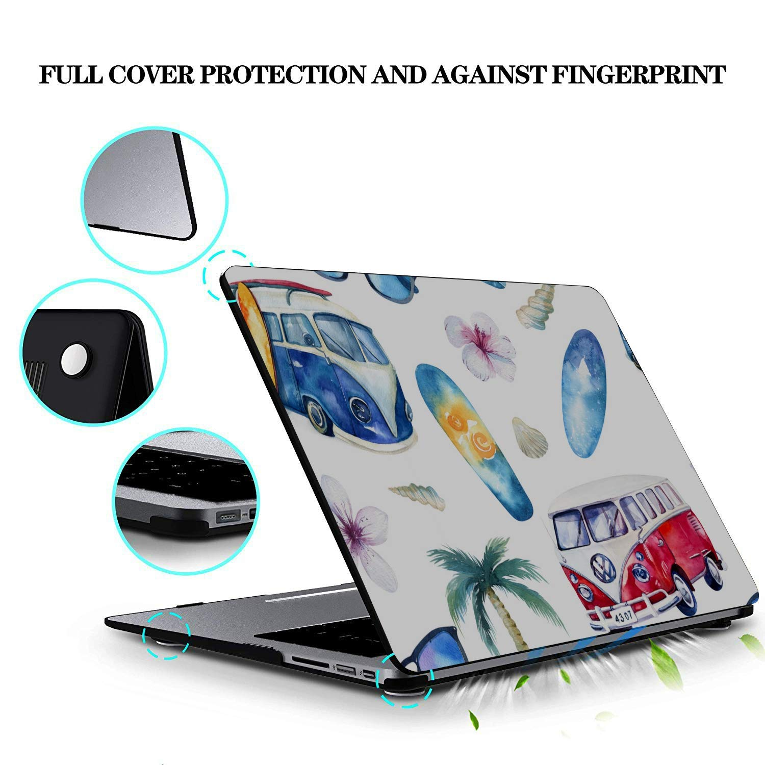 Laptop Cases Summer Retrocar Beach Palm Tree Plastic Hard Shell Compatible Mac Air 11 Pro 13 15 15 Inch MacBook Case Protection for MacBook 2016-2019 Version