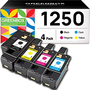 GREENBOX Compatible Toner Cartridge Replacement for Dell 1250 810WH C5GC3 XMX5D WM2JC for 1250c C1760nw C1765nfw 1350cnw 1355cn 1355cnw Printer (1 Black, 1 Cyan, 1 Magenta, 1 Yellow)
