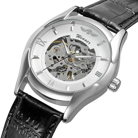 WINNER - Reloj de pulsera para hombre con correa de piel y diseño de números romanos