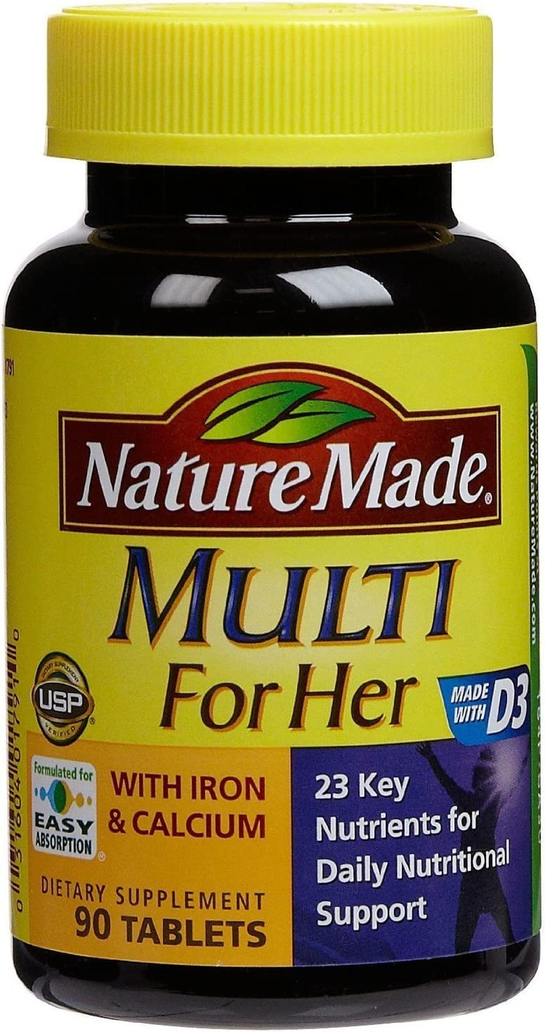 Nature Made Multi For Her Vitamin Mineral Tablets 90 count Pack of 3