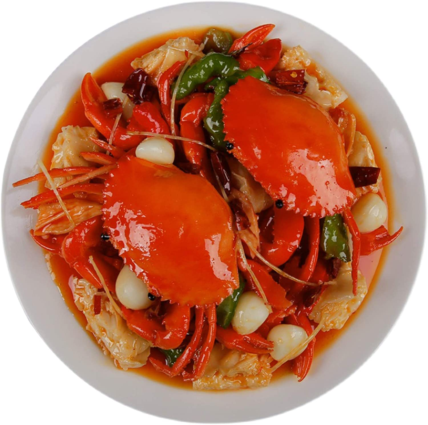 WJH9 Fake Cooked Lobster Simulation Crab Meat Model Faux Simulation Lifelike Fish Food Model for Home House Party Kitchen Cabinet Desk Decoration