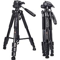 léger trépied – 140 cm Compact Camera trépied panoramique 360 ° avec tête et Plateau Rapide pour Reflex numériques Canon EOS Nikon Sony Panasonic Samsung – Noir