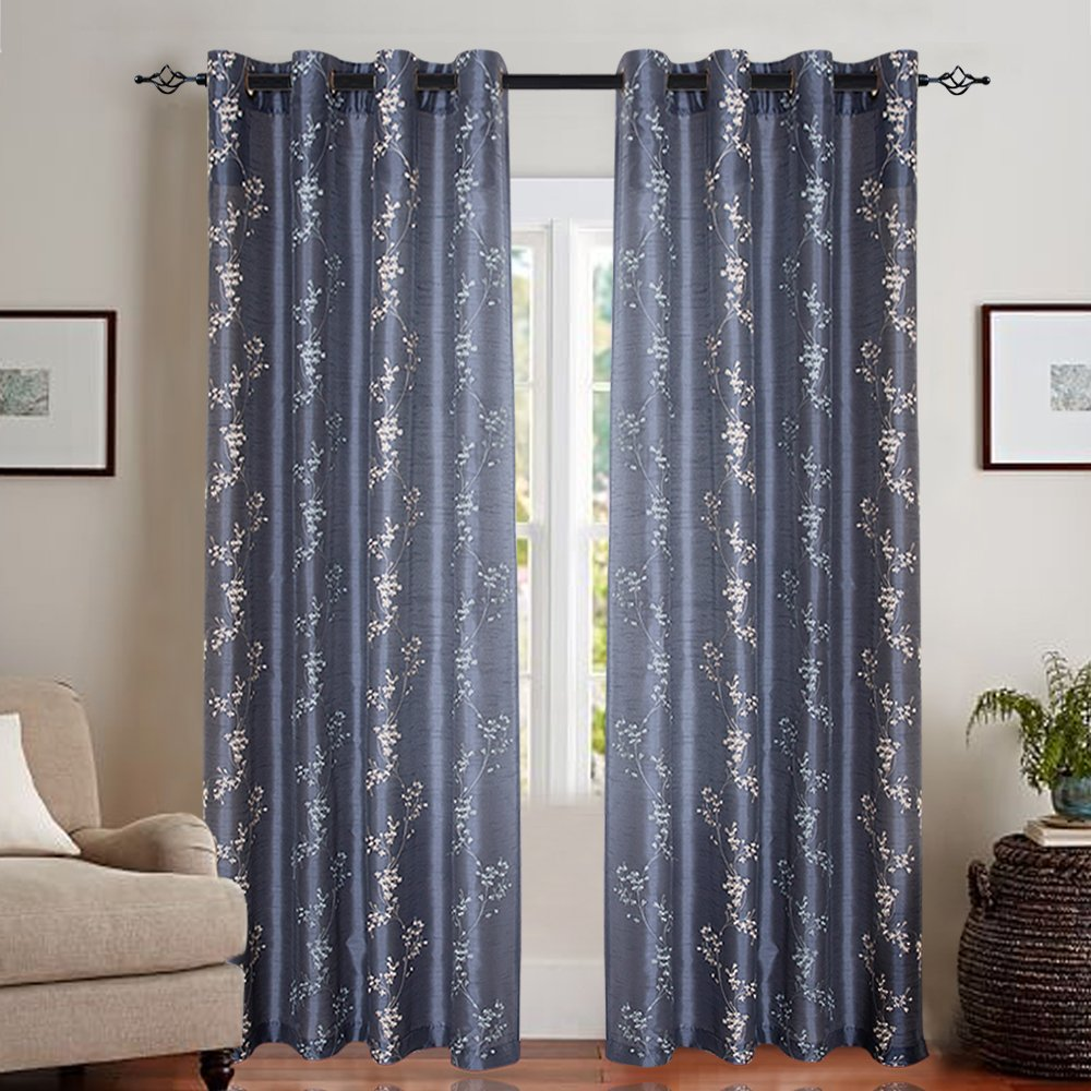 Faux Silk Floral Embroidered Curtains for Bedroom Slate Blue