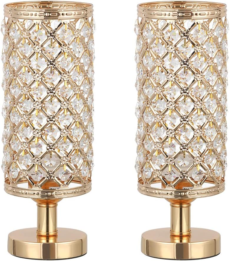 HAITRAL Crystal Table Lamp Set of 2 - Elegant Decorative Bedside Lamp Set with Clear Crystal Beads Lampshade, Gold Nightstand Lamps for Bedroom, Living Room, Girls Room, Guest Room (HT-TH132-16X2)