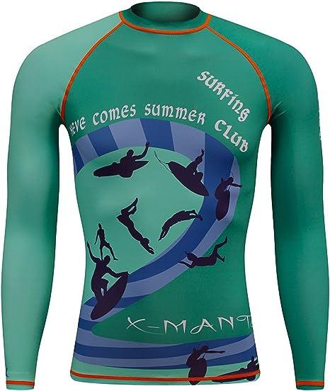 Surf & Sail UPF 50 bloqueador solar de buceo de camisas, camisa de secado rápido erupción guardia hombres manga larga para surfista