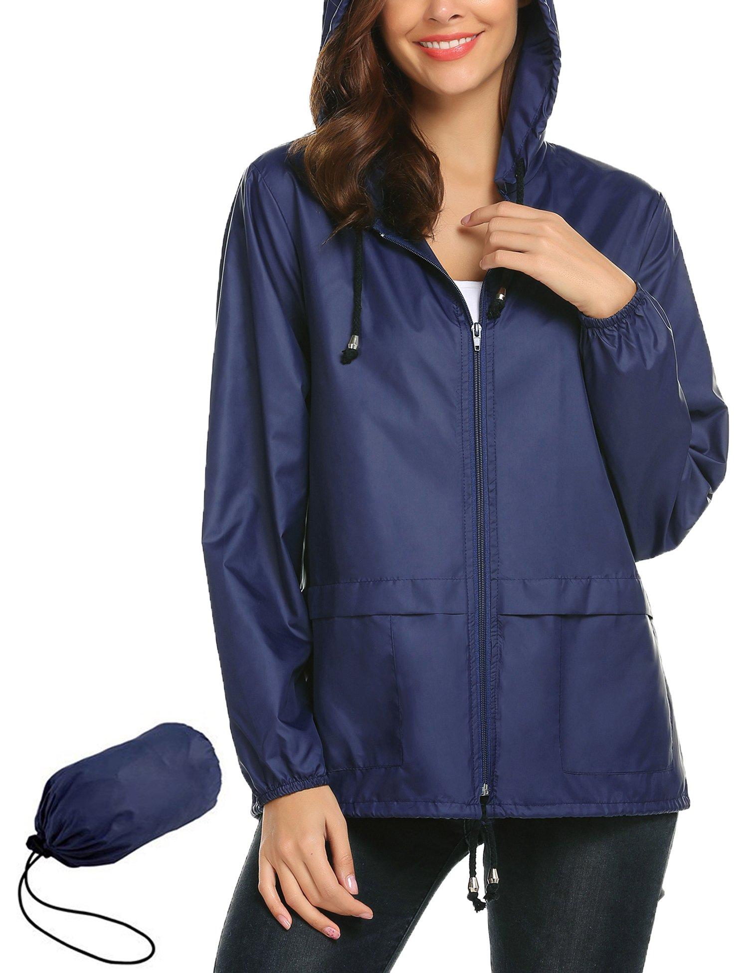 Womens' Waterproof Lightweight Raincoat Hooded Outdoor Hiking Packable Rain Jacket Outdoor Travel Trench Navy Blue S