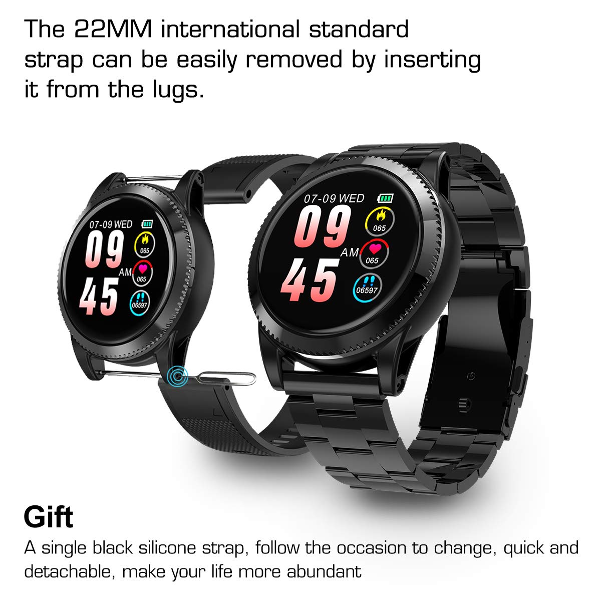 GOKOO Smart Watch for Men, Sports Smartwatch Fitness Tracker with Pedometer Notifications Music Control Blood Pressure Heart Rate Monitor Camera Color Touch Screen for Android iOS (Black) by GOKOO (Image #4)