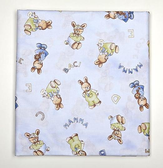 Tela de 280 x 290 cm estampado infantil, con conejos, color azul ...