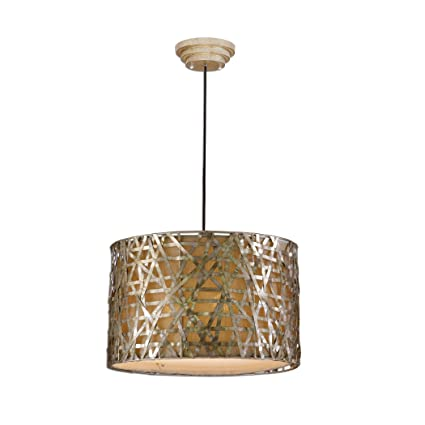 22u0026quot; Champagne Metal Basketweave Drum Pendant Light
