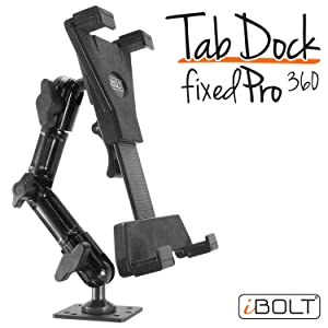 "iBOLT TabDock FixedPro 360 -Heavy Duty Metal 8"" Multi-Angle Drill Base Mount for All 7"" - 10"" Tablets (iPad, Nexus, Samsung Tab) for Desks, Tables, Countertops : Great for Homes, Businesses, etc."
