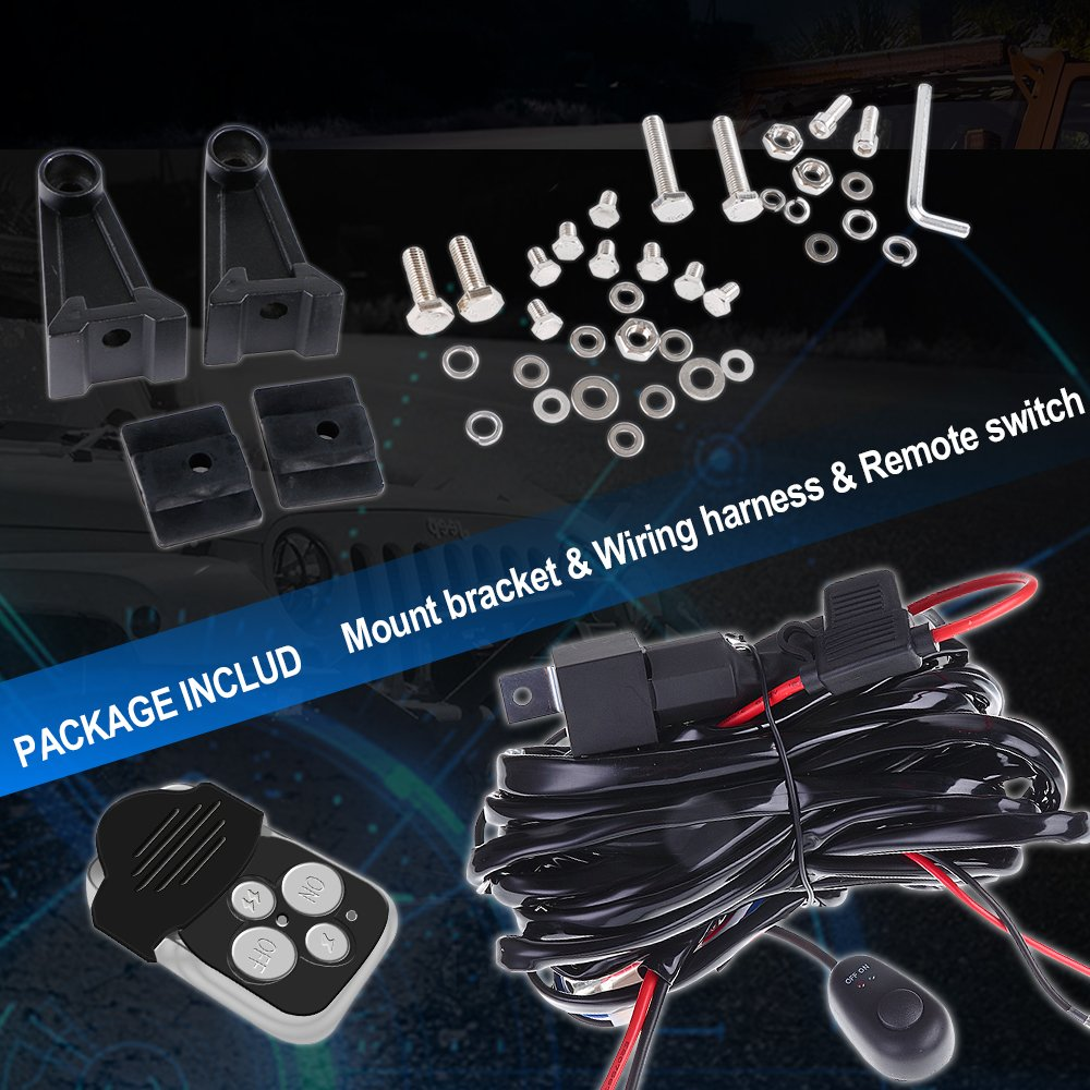 40 Led Light Bar Curved Wiring Pods Kawasaki Teryx Yamaha Utv Harness Detail