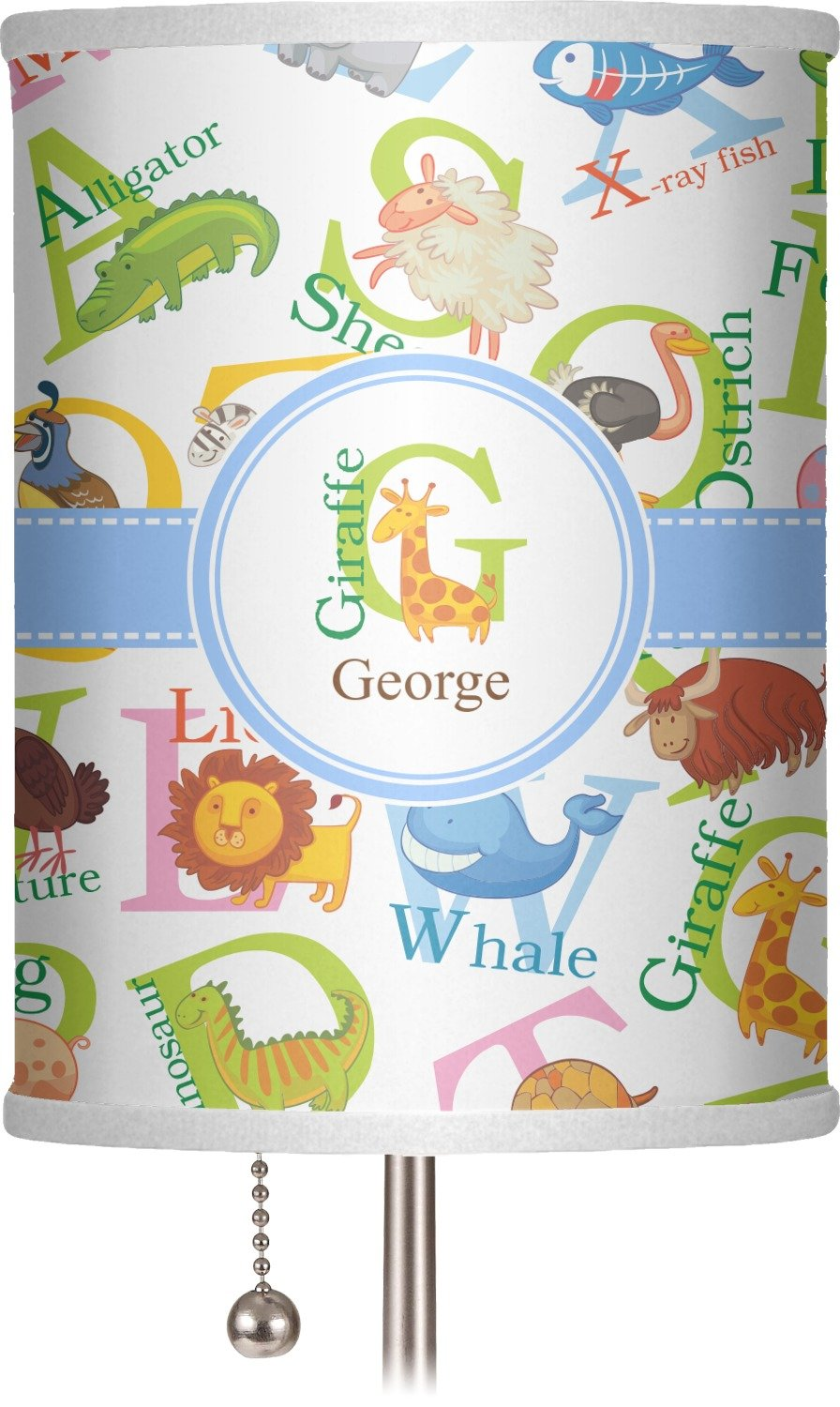 RNK Shops Animal Alphabet 7'' Drum Lamp Shade Polyester (Personalized)