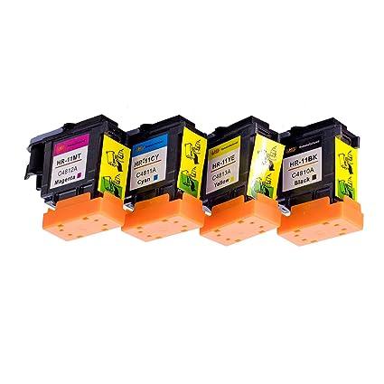 Lucky Bridge 4PK HP11 Cabezal de impresión C4810A C4811A C4812A C4813A compatible con impresoras HP Business Inkjet 2200, 2250, 2280, 2600, 2800, HP ...