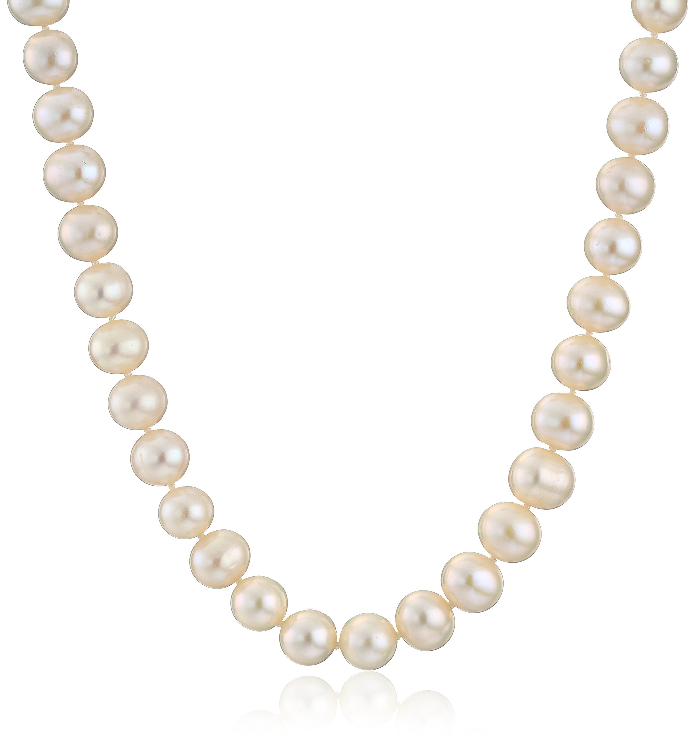 Sterling Silver White Freshwater Cultured A Quality Pearl Necklace (8.5-9mm), 18''