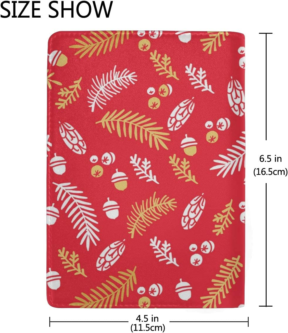 Red Christmas Tree Decoration Leather Passport Holder Cover Case Blocking Travel Wallet