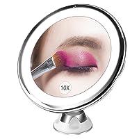 Bestope miroir maquillage grossissant 10x Lumineux,16 LED, 360°rotation ajustable,fonctionnant sur piles,miroir de salle de bain portable lumineux sans fil Blanc