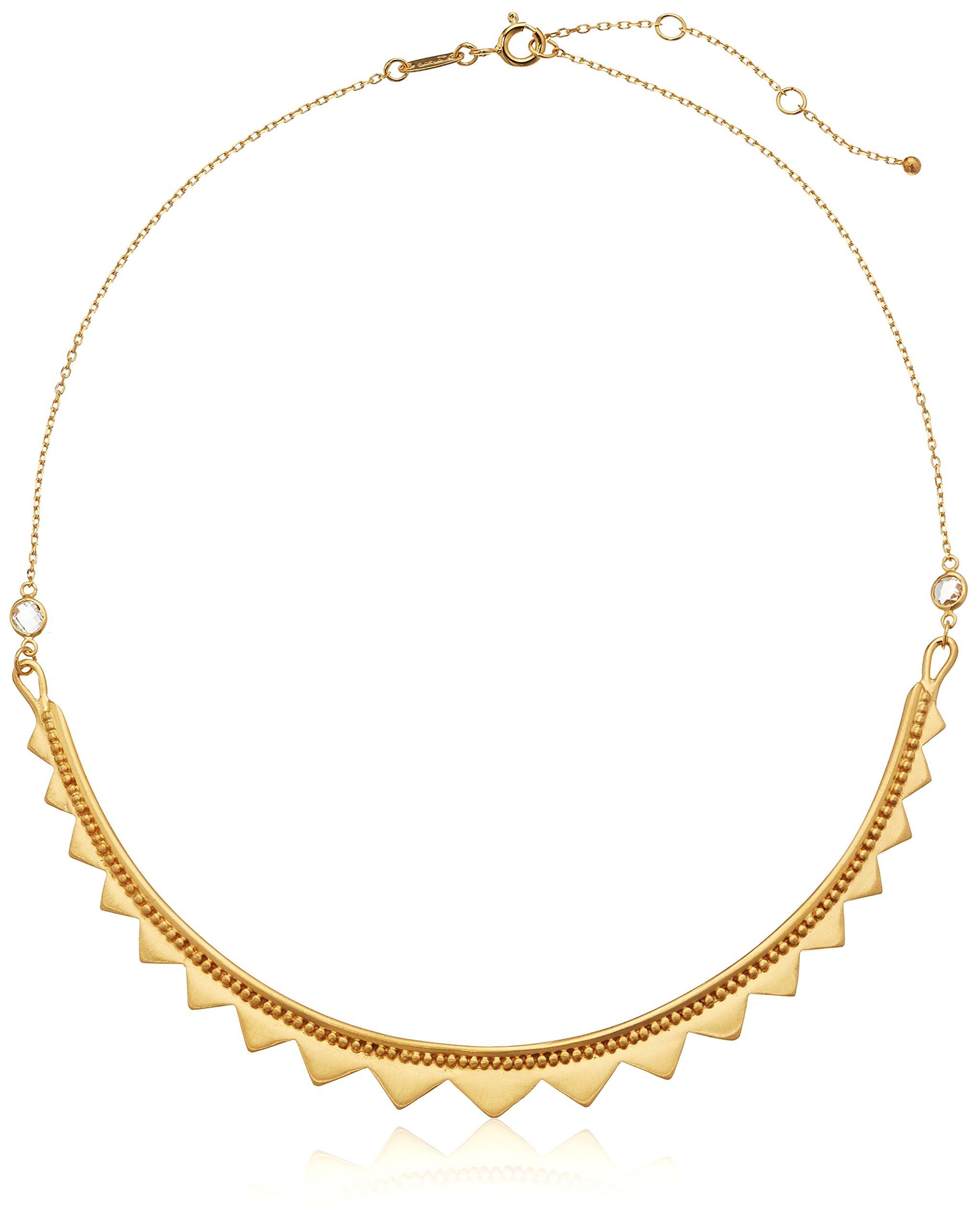 Satya Jewelry Celestial Goddess White Topaz Gold Celestial Choker Necklace, 14-Inch +2-Inch extension