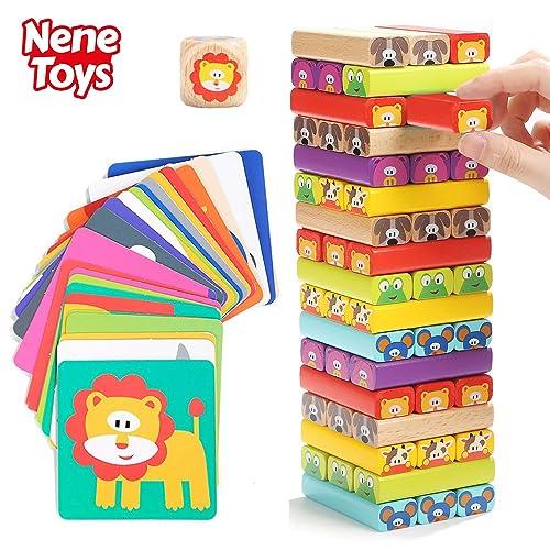 Nene Toys Torre de Bloques de Madera 4 en 1 con Colores y Animales Juguete Educativo para Niños Niñas de 4 a 8 años Juego de Mesa Infantil ideal como Regalo para Compartir entre Padres e Hijos