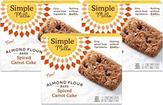 product image for Simple Mills Almond Flour Snack Bars (Spiced Carrot Cake) with Organic Coconut Oil, Chia Seeds, Sunflower Seeds, and Flax Seeds, Great for Stocking Stuffers, 5 Count-pack of 3 (Packaging May Vary)