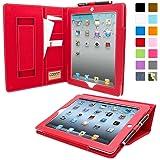 Étui iPad Air 2 de style 'Executive', Snugg™ - Housse / Smart Case en Cuir Rouge avec Emplacements pour Cartes, Poche de Rangement et Garantie à Vie Pour Apple iPad Air 2