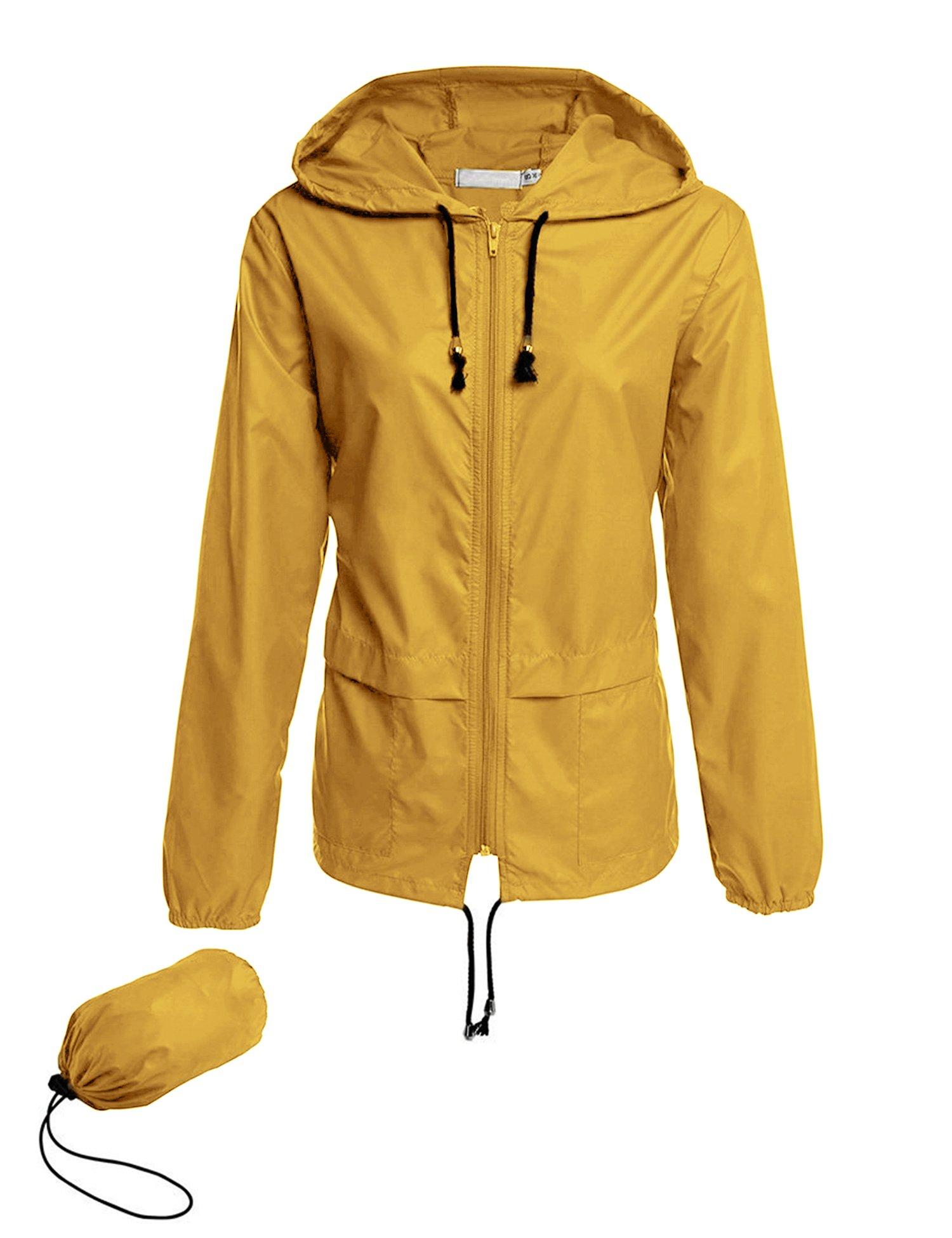 Avoogue Lightweight Raincoat Women's Waterproof Windbreaker Packable Outdoor Hooded Rain Jacket Yellow XXL by Avoogue