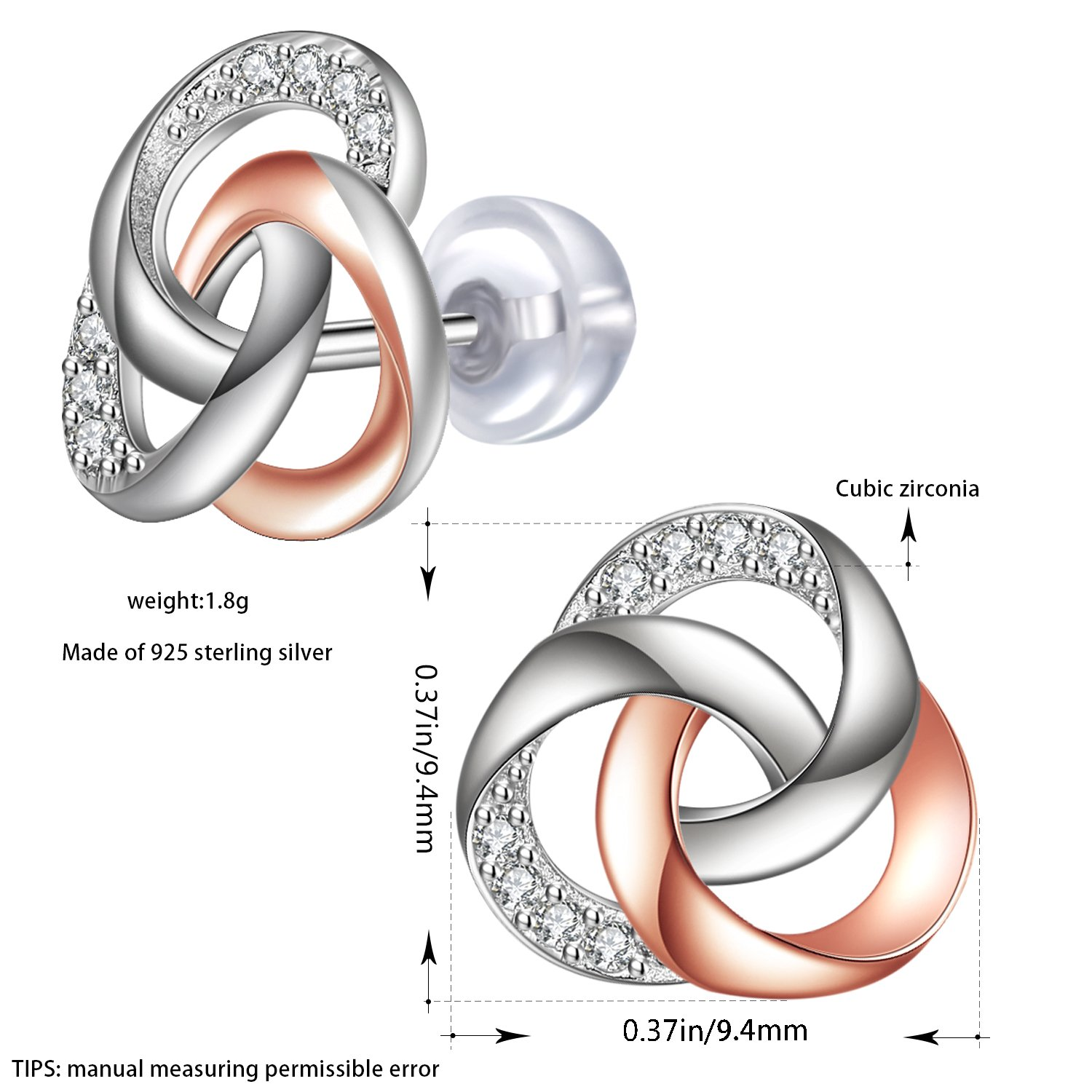 Best Gifts for Women with Gift Packed J.Ros/ée Sterling Silver Knot Earrings for Women Rose Gold Hypoallergenic Jewellery The Smell of Love
