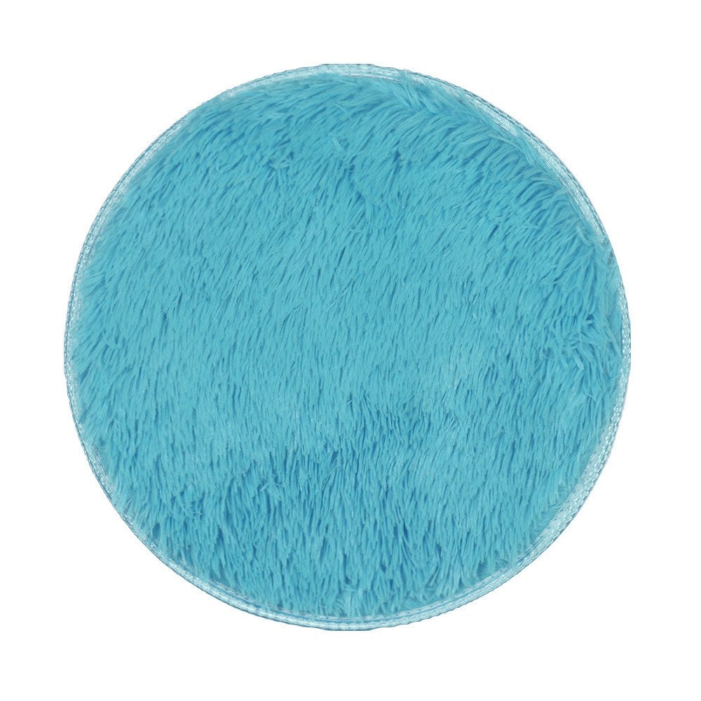 Clearance Tuscom Thickened Solid Color Circular Velvet Carpets Pure Natural Green Super Soft Mat,40x 40cm for Bedroom, Den, Living Room, Dining Area(10 Colors) (Sky Blue)