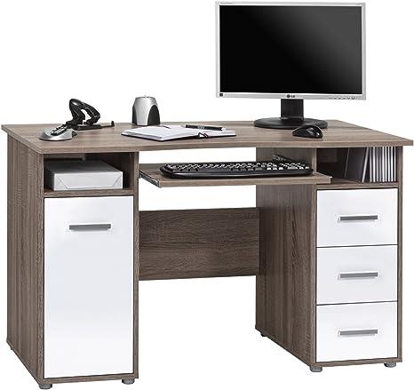 Schreibtisch Bürotisch Arbeitstisch Office T135/_EW Eiche Trüffel Weiss Hochglanz