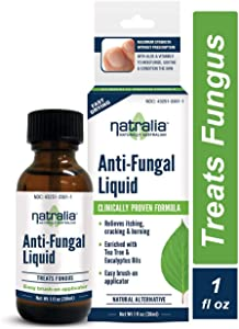 Natralia Anti-Fungal Liquid 1 Ounce, for Athlete's Foot & Ringworm, with Natural Tea Tree & Eucalyptus Oils Aloe & Vitamin E, Relieves Itch Scaling Cracking Burning Redness on Toes & Feet