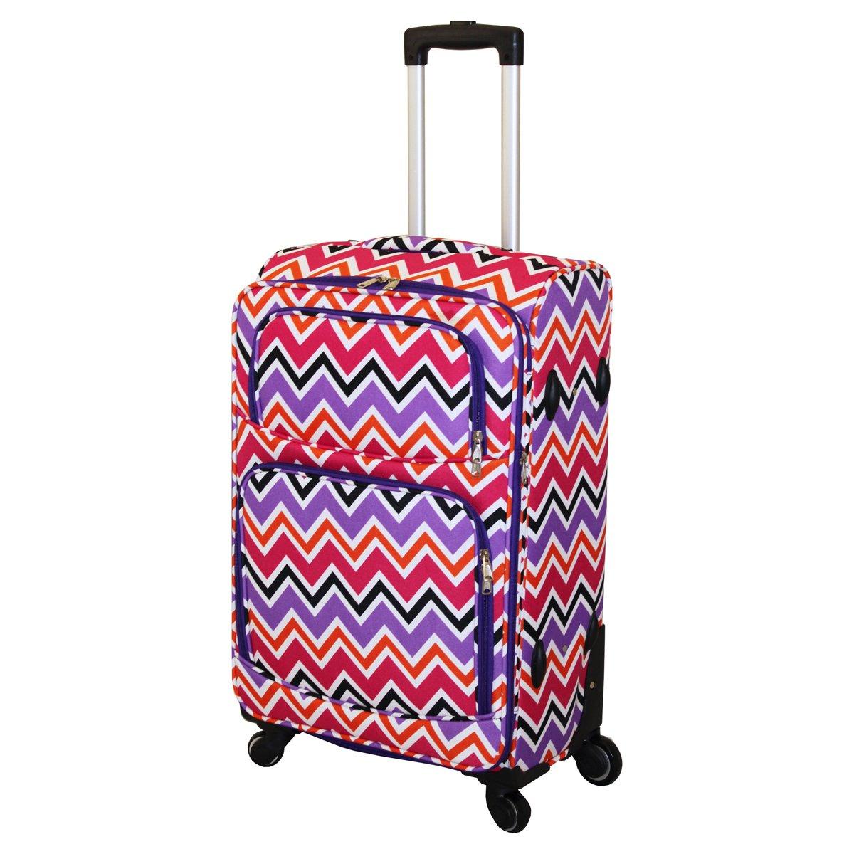 Multi Purple Chevron 3 Piece Luggage Set Color