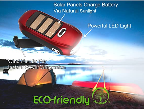 NEW Re-Wind Wind-Up /& Solar Powered LED Pocket Torch Eco Friendly Red
