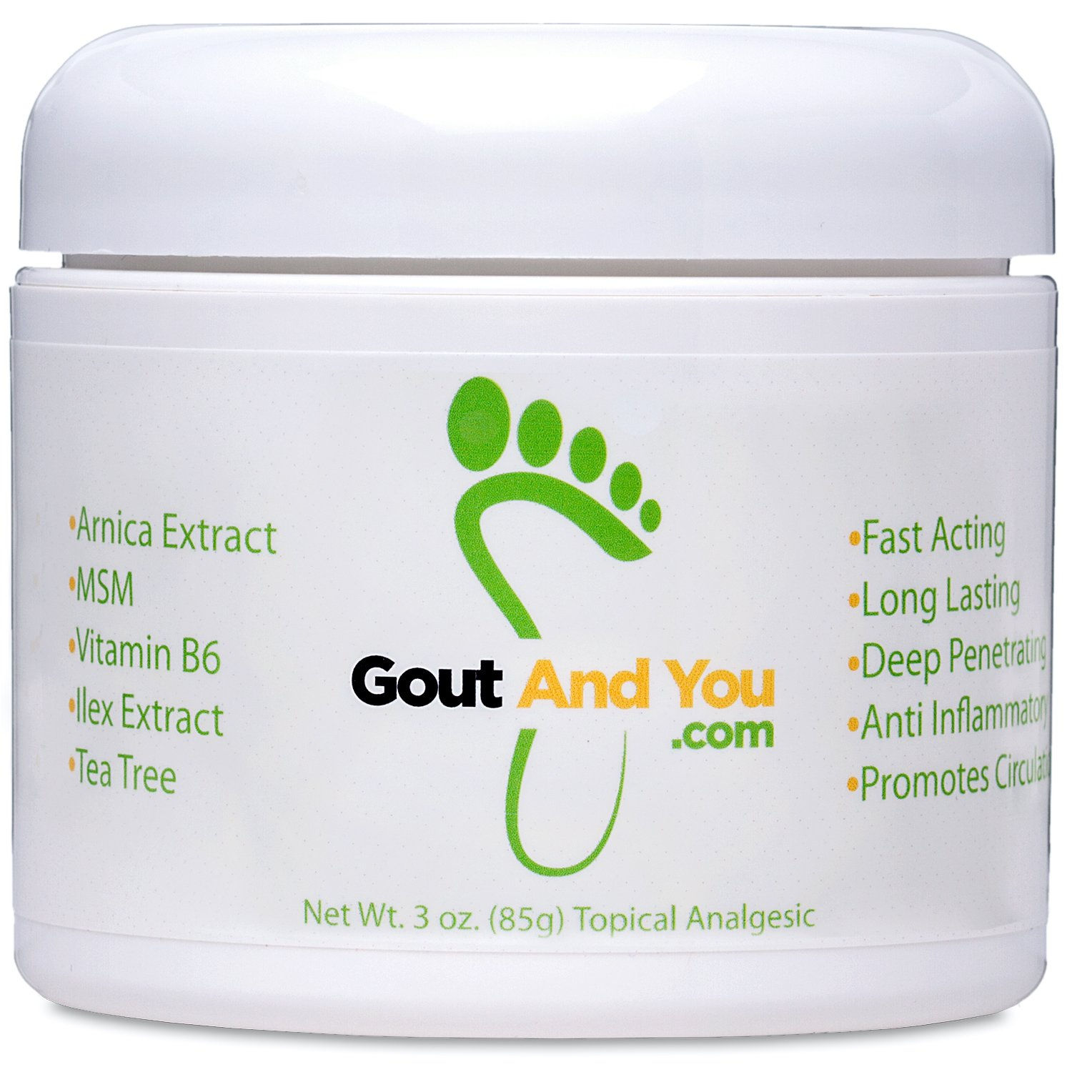 GoutandYou Therapeutic Gout Relief Cream with Arnica Extract, Ilex Leaf Extract, Aloe Vera and Tea Tree Oil.