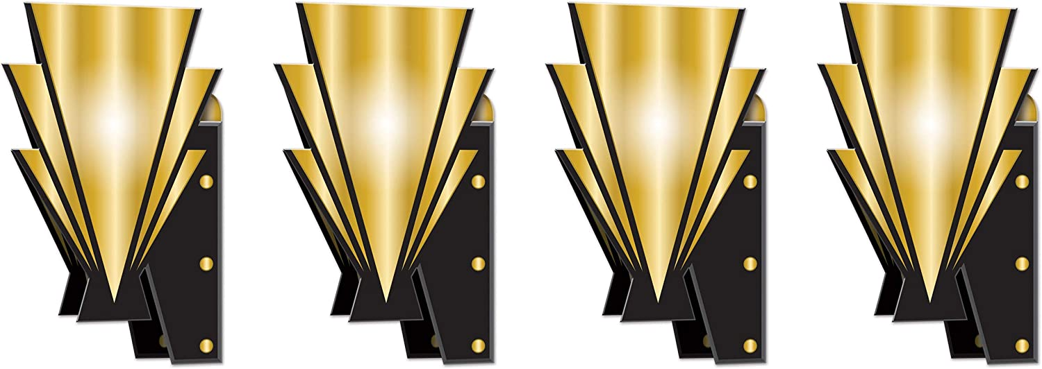"Beistle 20's Wall Scones 4 Piece Awards Night Decorations, 15"", Black/Gold"