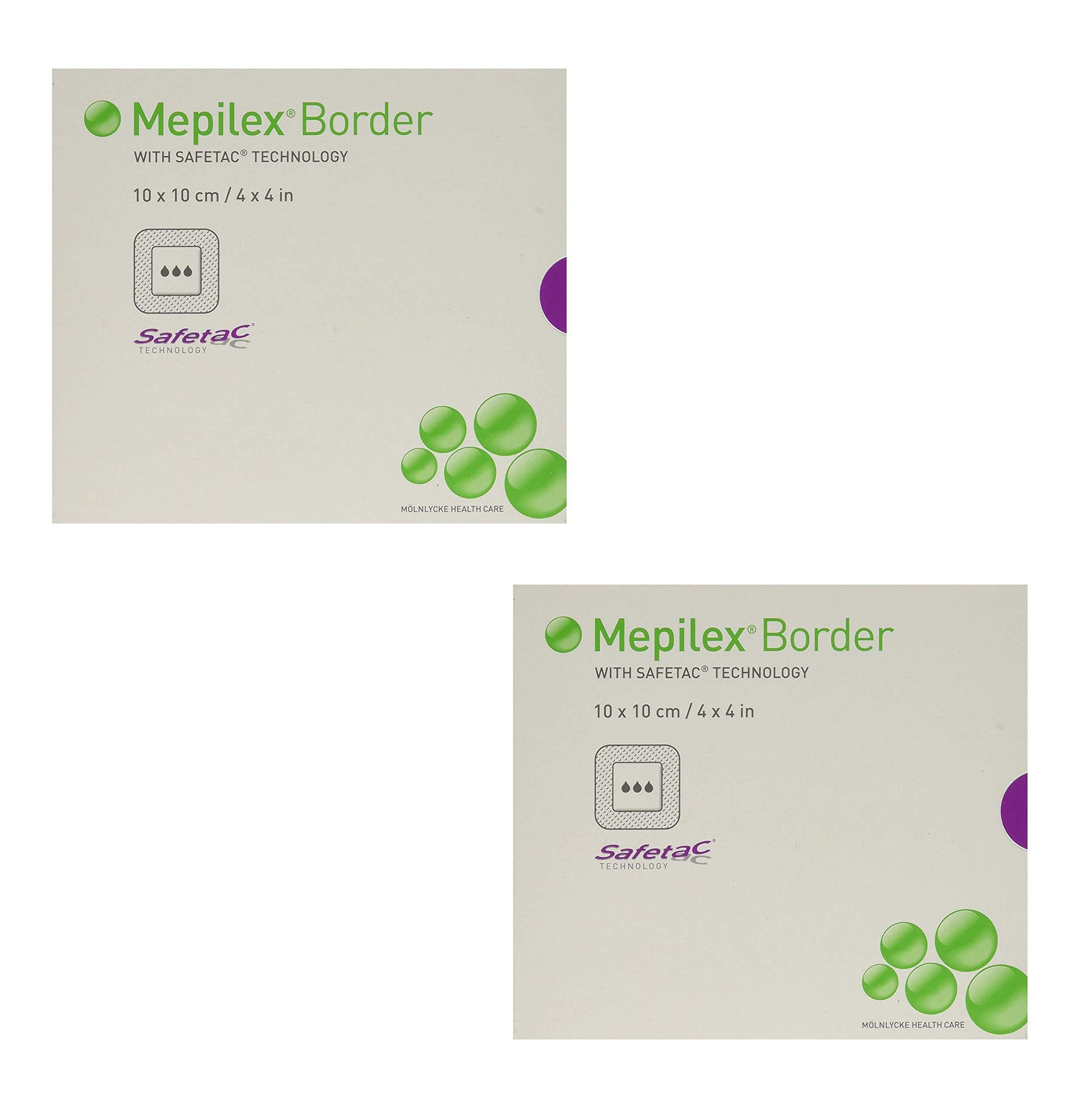 Mepilex Border Self-Adhesive Foam Dressings 4''x4'', 5 Count (2 Pack)