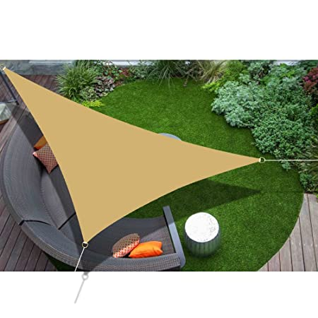 Alion Home 16 5 x 16 5 x 16 5 Triangle Waterproof Woven Sun Shade Sail in Vibrant Colors Desert Sand