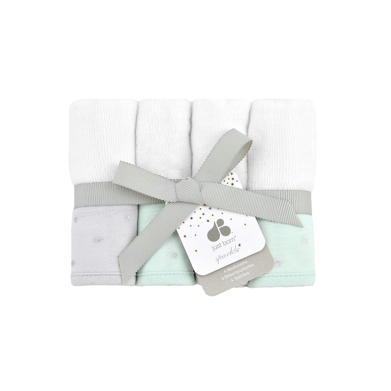 Just Born Sparkle 4pk Washcloths Mint
