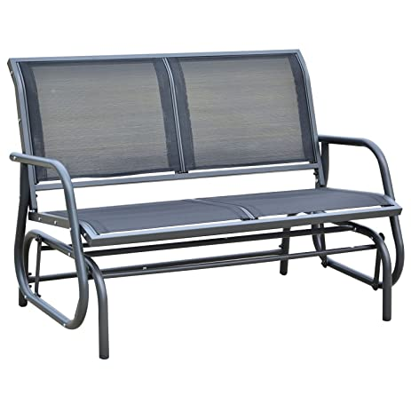 Outsunny 48u0026quot; Outdoor Patio Swing Glider Bench Chair ...