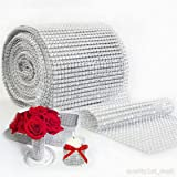 UNKE Flower Diamond Rhinestone Bling Ribbon Roll Mesh Rhinestone Ribbon Wrap for Wedding, Party, and Events Decoration Silver