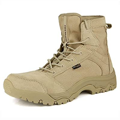 FREE SOLDIER Men's Work Boots 6 inch Lightweight Breathable Military Tactical Desert Boots for Hiking: Sports & Outdoors