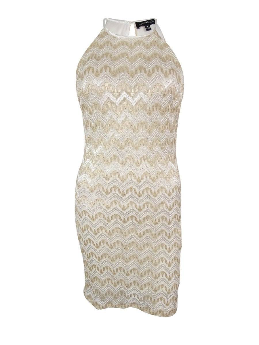 My Michelle Sequin Hearts by Junior's Horizontal Stripe Dress with High Neckline Key Hole at Back, Ivory/Gold, 9