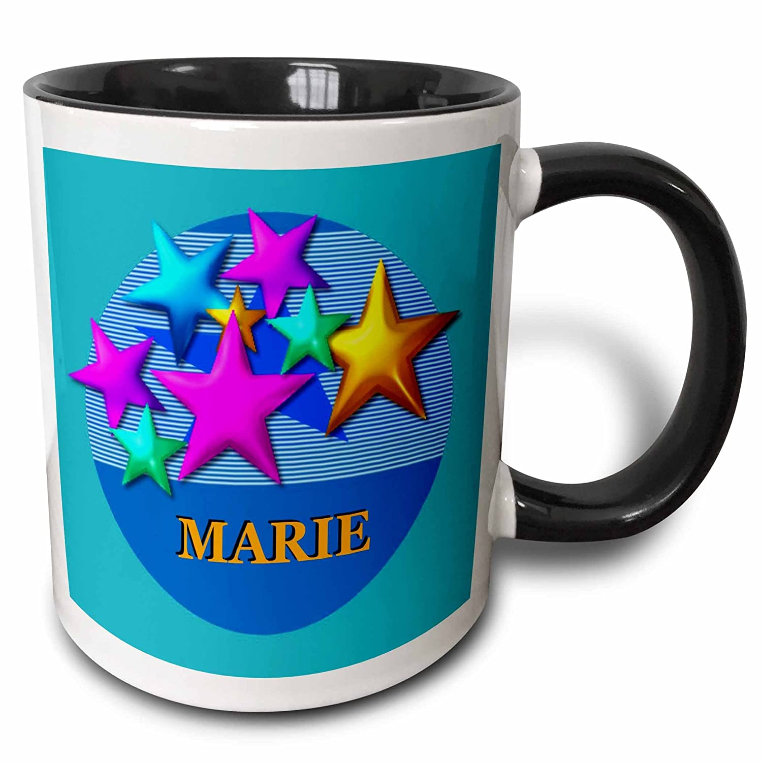 11 oz Multicolor 3dRose mug/_52946/_4Vibrant colored stars on a blue background personalized with the name MARIE Two Tone Black Mug