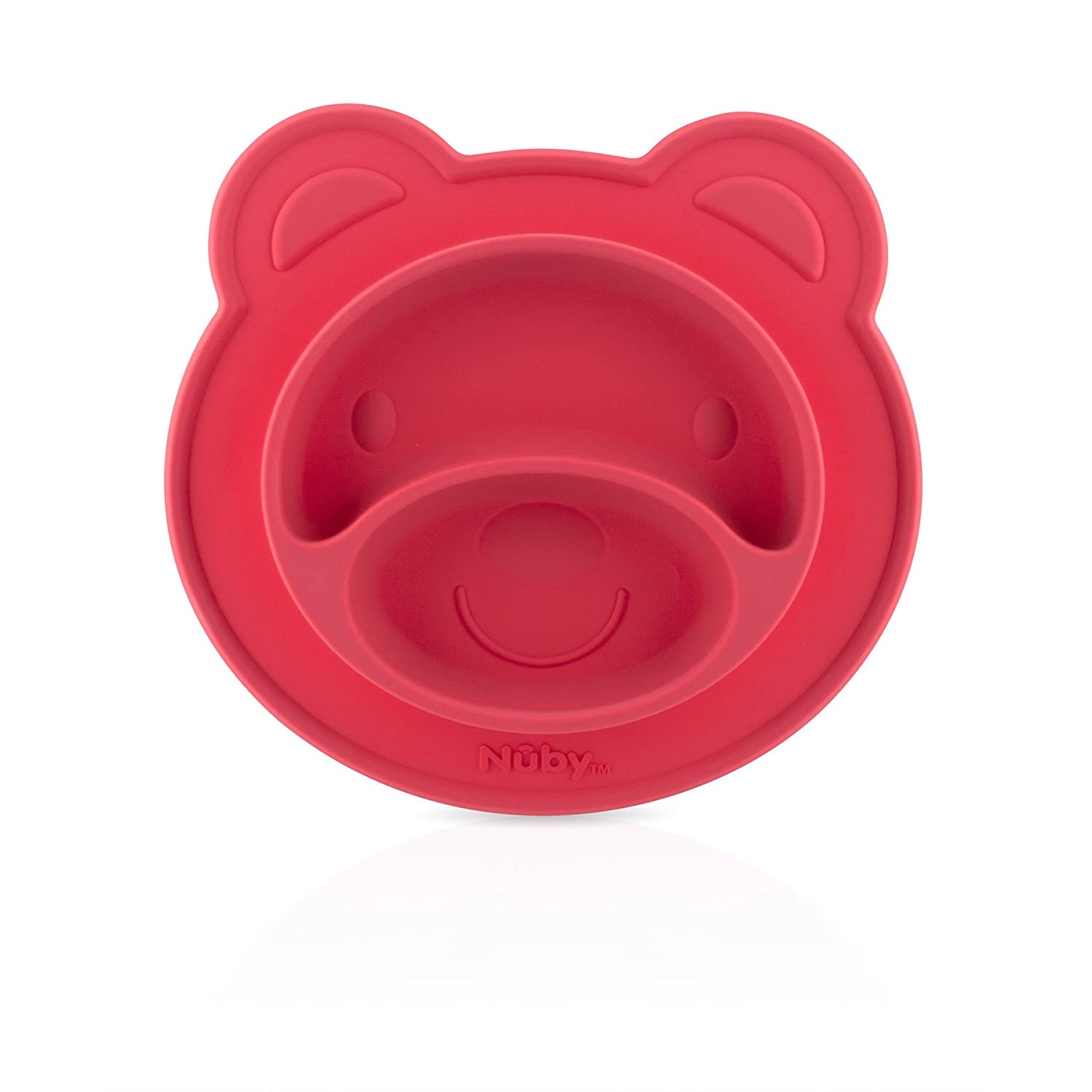 Nuby 537076PK Sure Grip Silicone Miracle Mat Section Bear Plate, Red