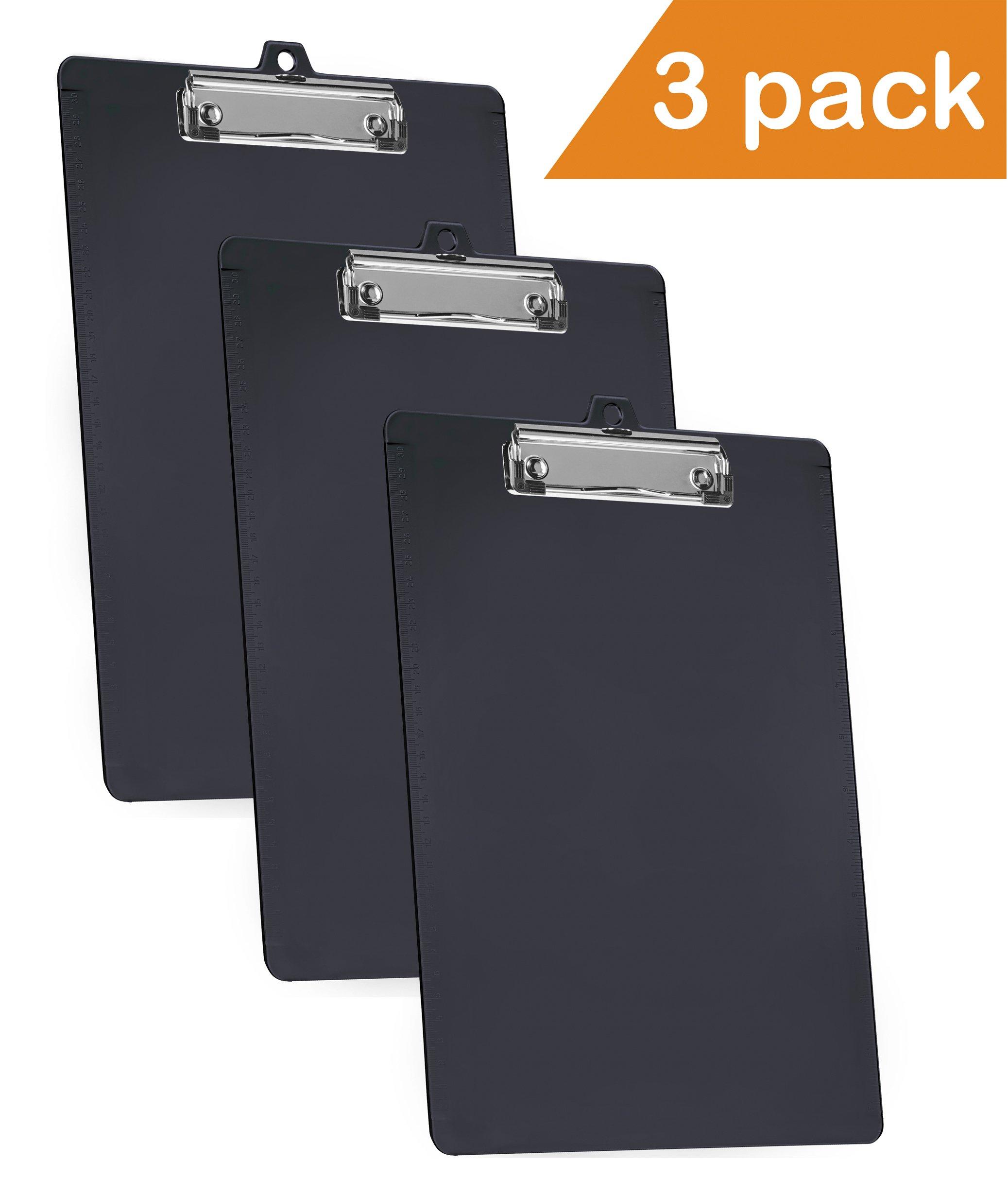 Acrimet Clipboard Low Profile Clip Letter Size (Black Color) (3 - Pack)