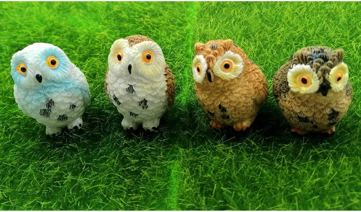 EMiEN 4pcs Miniature Fairy Garden Owl, Miniature Figurines, Fairy Garden Accessories, Fairy Garden Supplies, Micro Landscape, Plant Pots, Bonsai Craft Decor