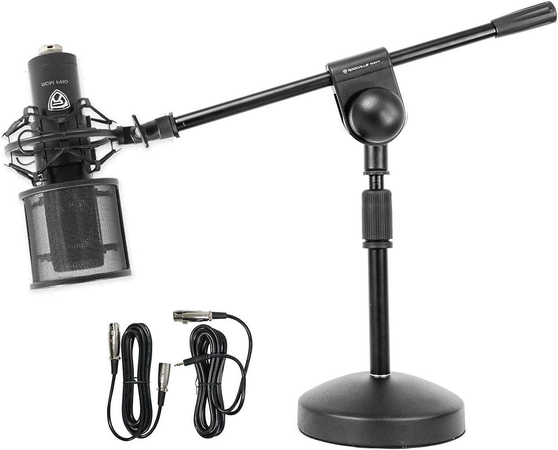 Rockville RCM PRO Studio//Recording Podcast Condenser Microphone Desk Stand//Boom