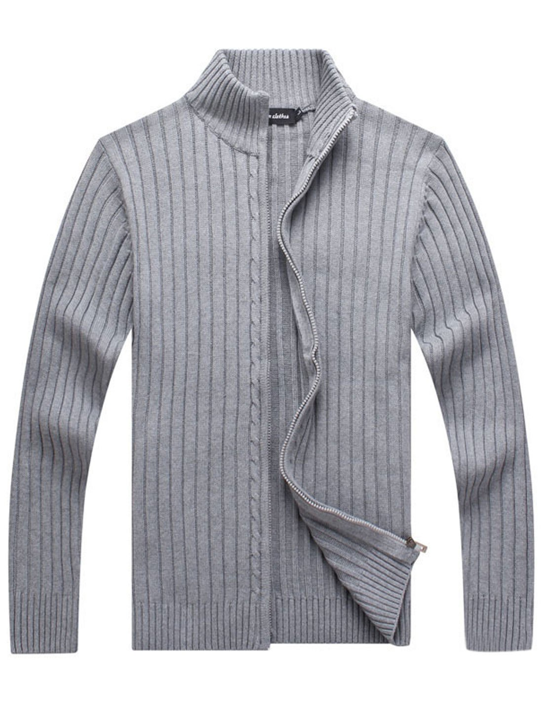Yeokou Men's Casual Autumn Stand Collar Full Zip Up Knitted Cardigan Sweater
