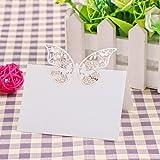 JZK® 50 x Farfalla perlato bianco segnatavolo segna posto segnaposto carta bomboniera per matrimonio compleanno nascita battesimo comunione laurea festa Natale segnaposti segnatavoli farfalle
