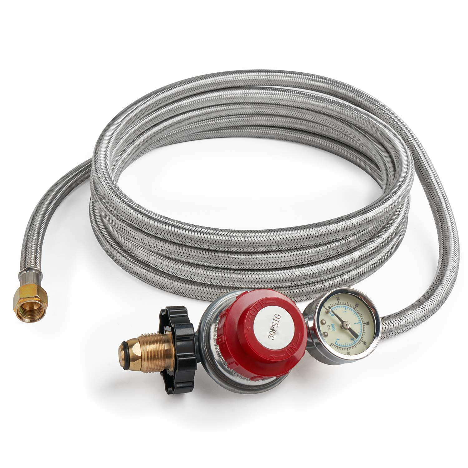 GASPRO 12 Foot 0-30 PSI High Pressure Adjustable Propane Regulator with Gauge/Indicator, Stainless Steel Braided Hose, Gas Grill LP Regulator for Burner, Turkey Fryer, Forge, Smoker and More. by GASPRO