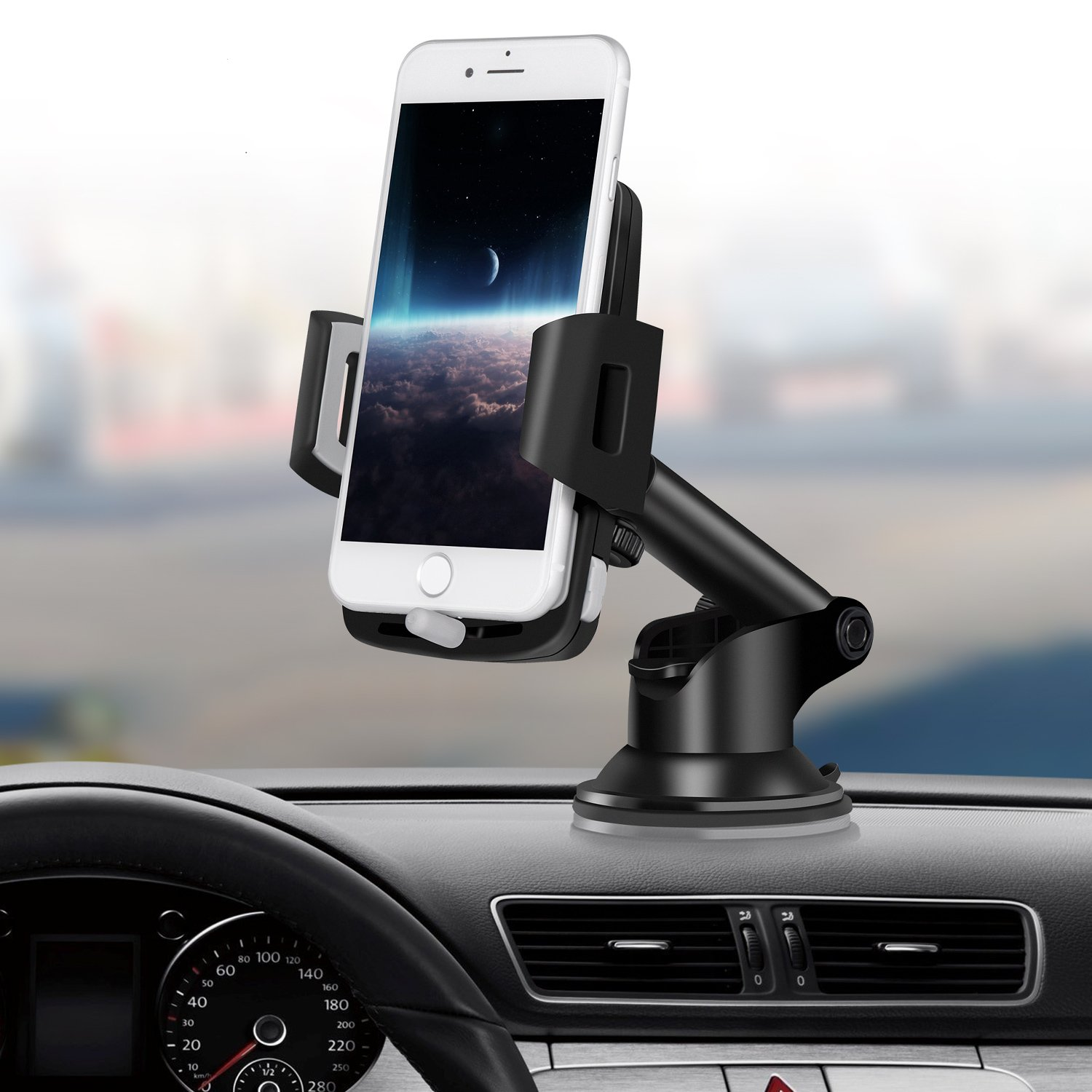 Car Mount, Upgraded Cell Phone Holder for Car Dashboard Windshield Universal Cell Phone Mount with Strong Sticky Suction Cup for iPhone X 8 7 6S 6 Samsung Galaxy S10 S9 S8 S7 S6 HTC LG Google GPS