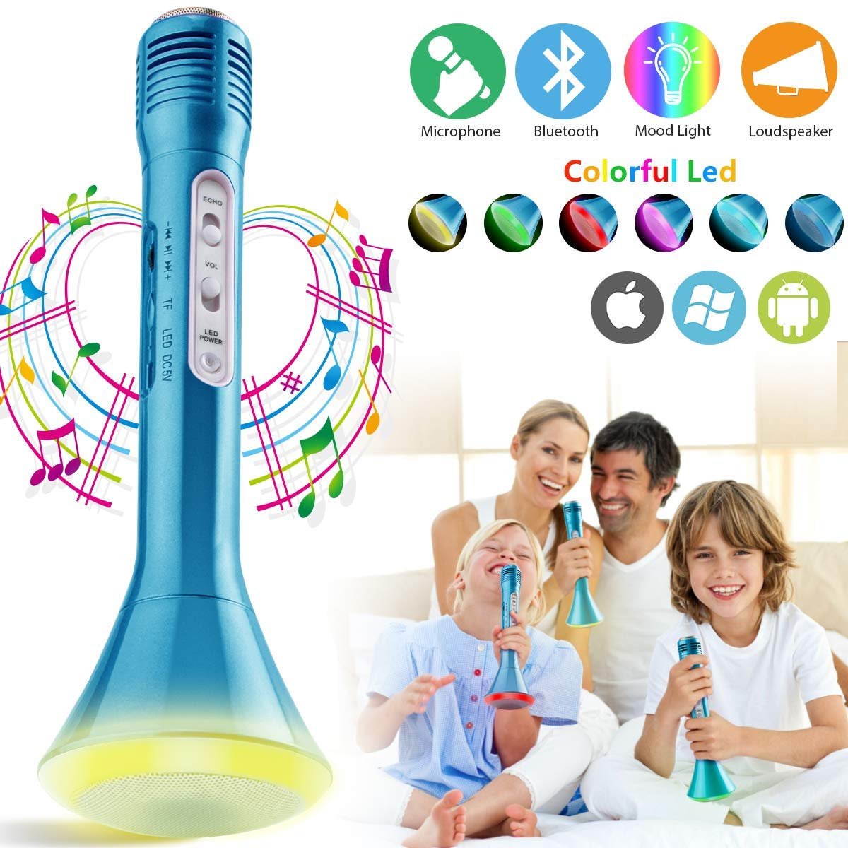 Wireless Kids Karaoke Microphone with Speaker, Portable Bluetooth Microphone Echo Child Karaoke Mic Machine for Kids Boys Girls Adult Singing Party Music Playing Support Android iOS Smartphone(Blue)